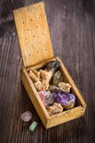 Wooden box with collection of rocks and minerals Royalty Free Stock Photo