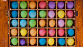 Wooden box with colorful balloons for background Stock Photo