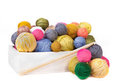 Wooden box with colorful clews for knitting Stock Photography