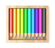 Wooden box with colorful pencils. 3D Stock Image