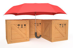 Wooden box covered by red umbrella Royalty Free Stock Photography