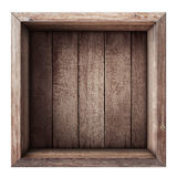 Wooden box or crate top view isolated. On white royalty free stock photo