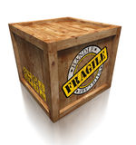 Wooden Box Crate With Grunge Fragile Symbol Stock Photos