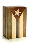 Wooden Box Cuban Flag. A wooden box with Cuban Flag, on white background Stock Photography