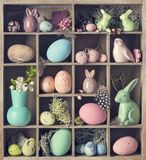 Wooden box with decorations for easter. Old wooden box with decorations for easter stock images