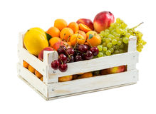 Wooden box with different fruits Royalty Free Stock Image