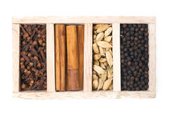 Wooden box with different kinds of spices, isolated, top view Stock Photo