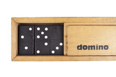 Wooden box domino Stock Photo