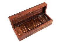 Wooden box with domino Stock Photography