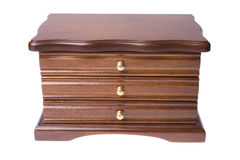 Wooden box from drawers on jewellery Stock Photo