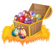 A wooden box with easter eggs. Illustration of a wooden box with easter eggs on a white background Stock Photo