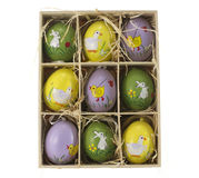 Wooden box with eater eggs Royalty Free Stock Photo