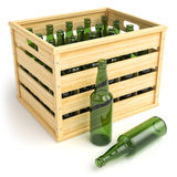 Wooden box with empty beer bottles. Stock Image