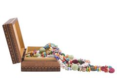 Wooden box and fashion beads Stock Images
