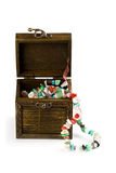 Wooden box with fashion beads Royalty Free Stock Photo