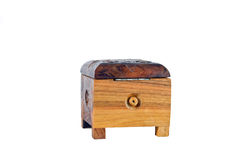 Wooden box for female ornaments and jewelry Royalty Free Stock Images