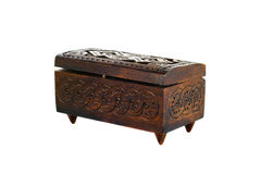Wooden box for female ornaments and jewelry Stock Photography