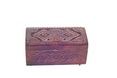 Wooden box for female ornaments and jewelry Royalty Free Stock Photography