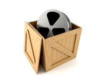 Wooden box with film reel. Isolated on white background vector illustration