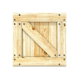 Wooden box. Front view. 3D render Stock Photos