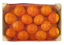 Wooden box full with clementines Royalty Free Stock Photo