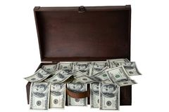 Wooden box full of 100 dollars banknotes isolated on white backg. Round. Space for text display montage. Concept of money and earnings Stock Images