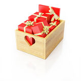 Wooden box full of presents. Christmas concept Stock Photography