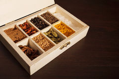 Wooden box full of spices, left aligned. Closeup of a wooden box with sections full of colorful spices. Dark wooden background, left aligned royalty free stock images