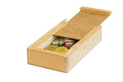 Wooden box with grandpas' medals. From the War World II royalty free stock photo