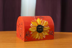 Wooden box hand painted Stock Photo