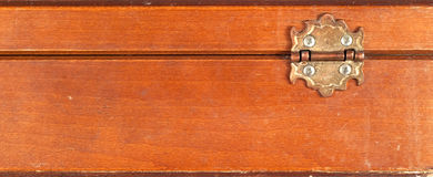 Wooden box hinge Royalty Free Stock Image
