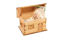 WOODEN BOX HOUSES WITH MONEY. Cash Royalty Free Stock Photography