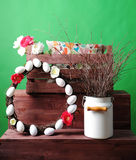 Wooden box with an interior pillow and a bouquet of flowers Royalty Free Stock Photography