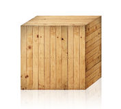 Wooden box isolated with clipping path. Royalty Free Stock Photography