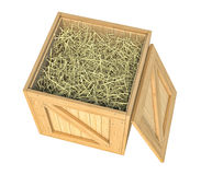 Wooden box isolated with hay on white background Royalty Free Stock Images