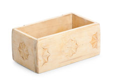 Wooden box, isolated on white background Royalty Free Stock Images