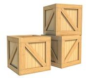 Wooden box isolated on white background Stock Photo