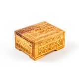 Wooden box isolated on white background. Yellow Stock Photos
