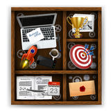 Wooden box with items of business office Stock Photos