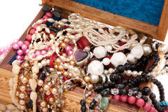 Wooden box with jewels Stock Photography