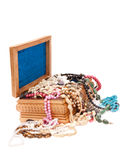 Wooden box with jewels Stock Image