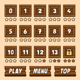 Wooden box level selection panel with buttons for Royalty Free Stock Photography