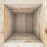Wooden box without a lid. View from above. Stock Photos