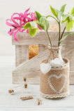 Wooden box with lilly and flowers Stock Photo