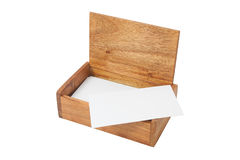 Wooden box made of red wood, for a business card. Royalty Free Stock Image