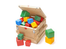 Wooden box with many blocks Royalty Free Stock Photography