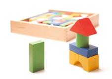 Wooden box with many blocks Royalty Free Stock Photos