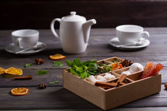 Wooden box with mixed spices. Royalty Free Stock Photo