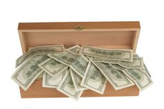 Wooden box  with money Stock Image