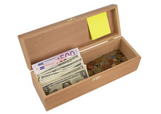 Wooden box  with money Stock Photo